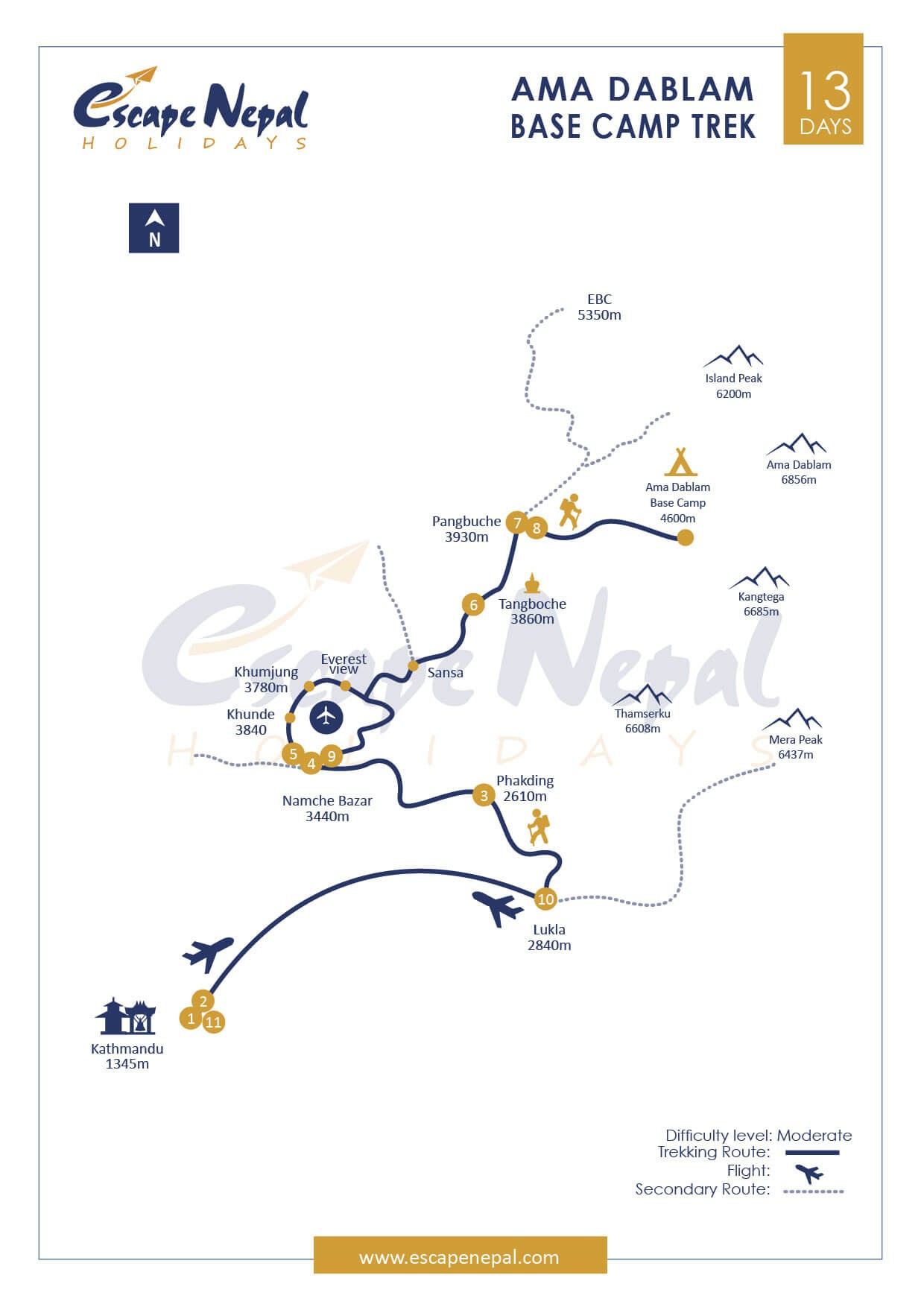 AMA DABLAM BASE CAMP TREK map